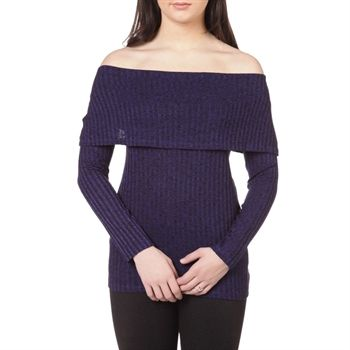 Kensie Women's Contemporary 3-Way Off-Shoulder Mélanged Ribbed Knit Top