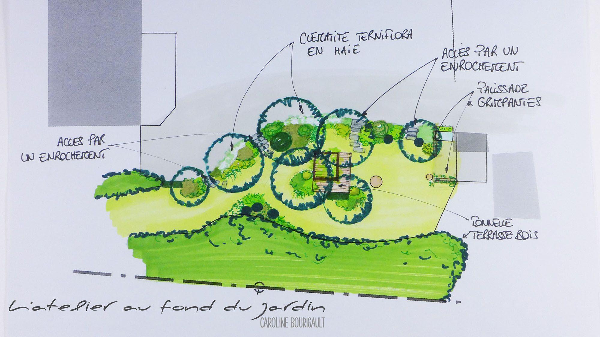 Epure d aménagement paysager de la zone de repos d un jardin