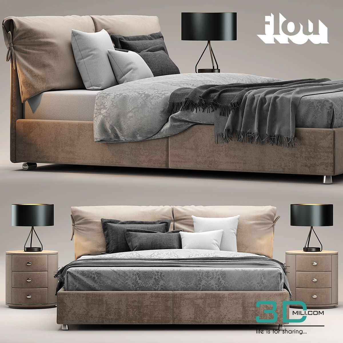 cool 94. Bed flou Letto Nathalie Download here: http://3dmili.com ...