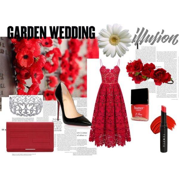 #garden #wedding by fashionholics-h-a on Polyvore featuring Christian Louboutin, Fendi, Ice, Accessorize, Temptu, Butter London, garden and wedding