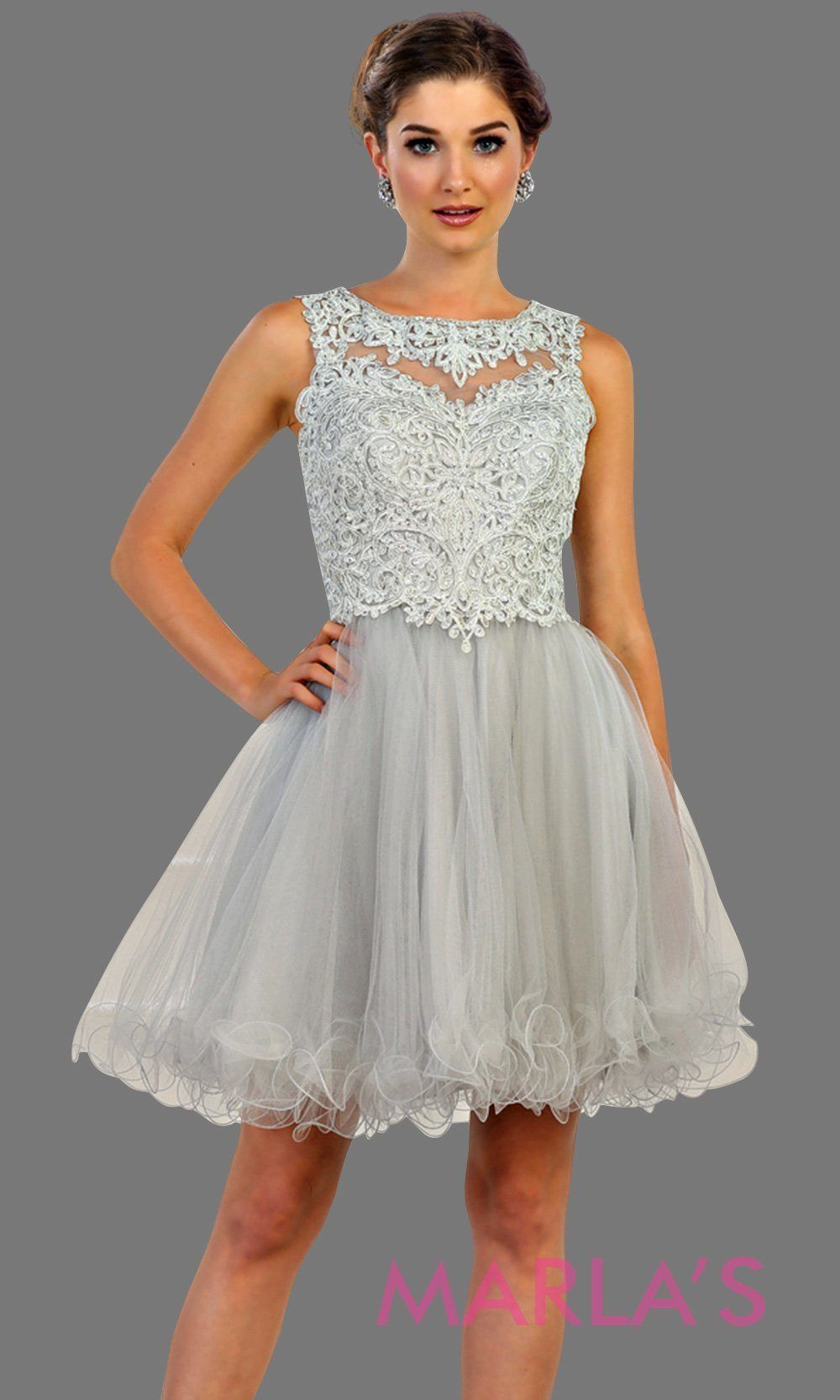 274e4331a1 Short high neck puffy light gray dress with lace top. Perfect for grade 8  grad