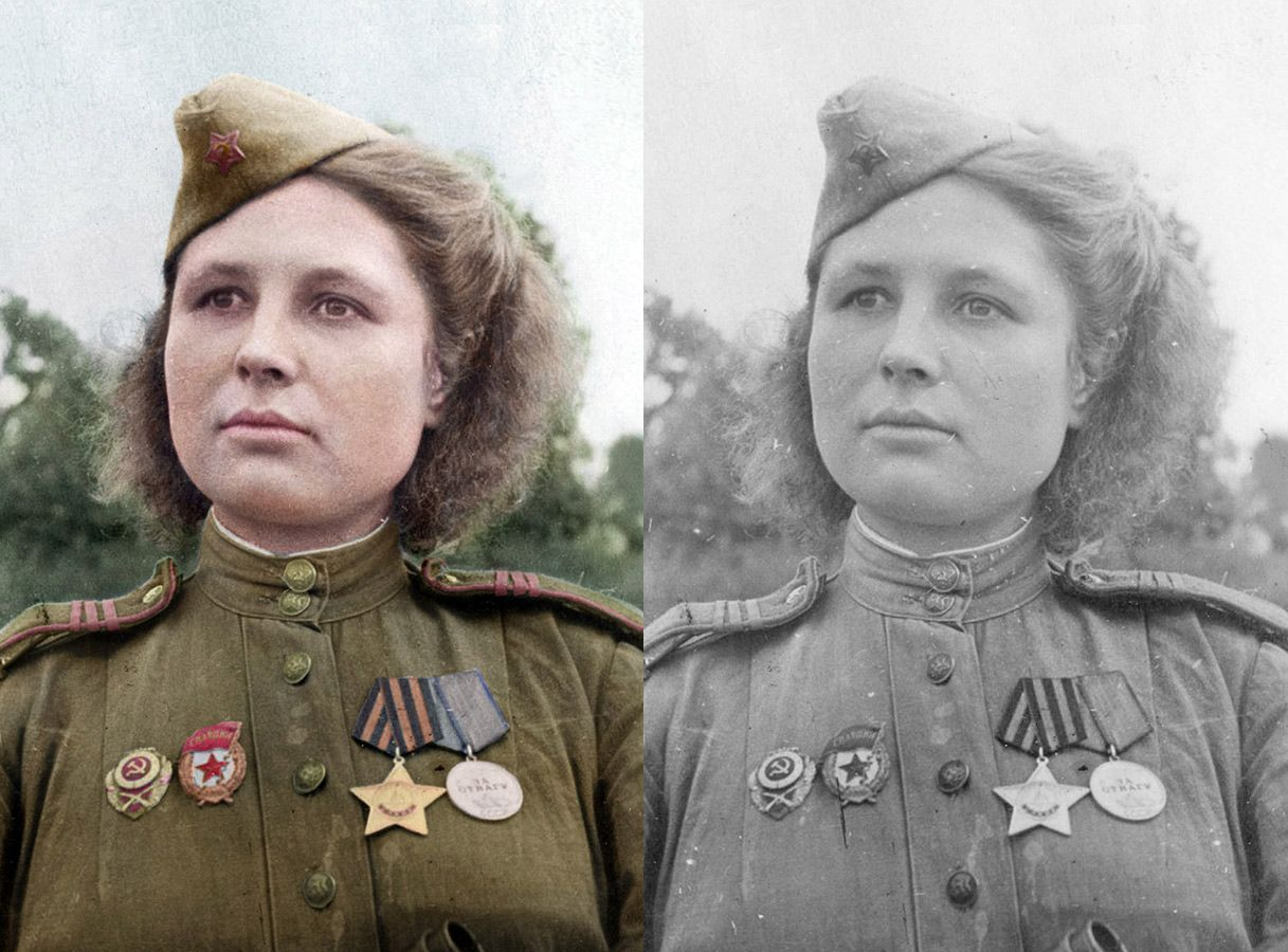 Russian sniper sergeant Yulia Belousova