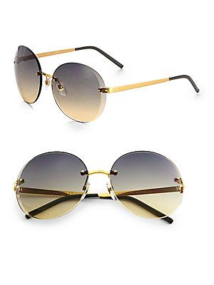 6575569f45d Gucci Rimless+Oversized+Round+Sunglasses