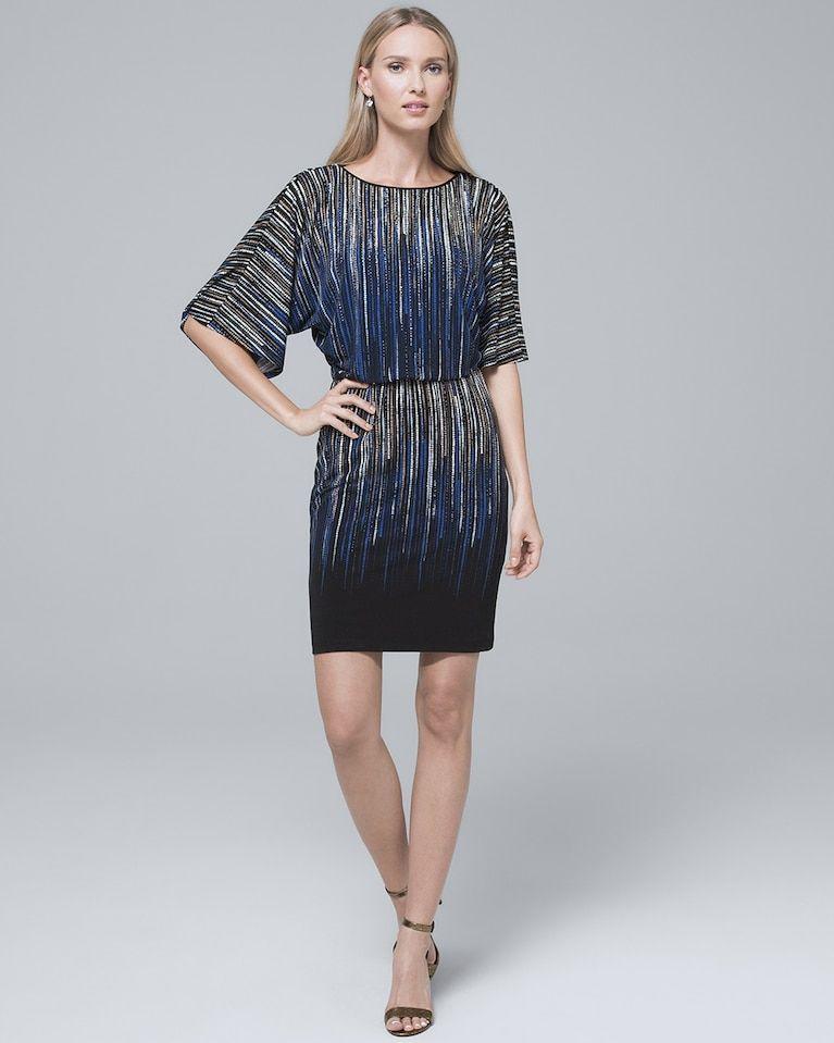 2f28fb9f5e0ce Women s Embellished Abstract-Print Knit Blouson Dress by White House Black  Market