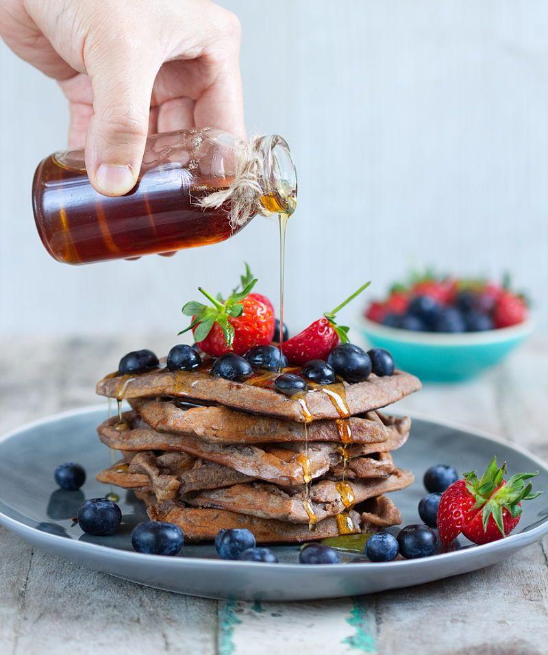 Gluten Free & Vegan Cacao Protein Waffles Protein