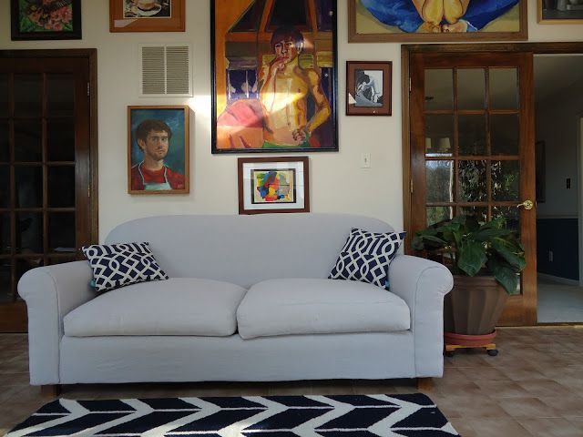 DIY couch reupholster with a canvas drop cloth