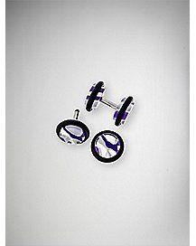 Purple White Swirl Fake Plug Set
