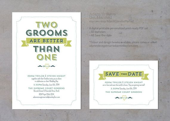 Gay Marriage Wedding Invitations: Two Grooms Are Better Than One Gay Wedding Invitation By