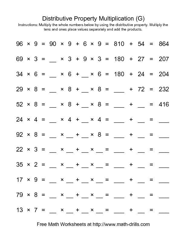 Multiplication Worksheet -- Distributive Property -- Two