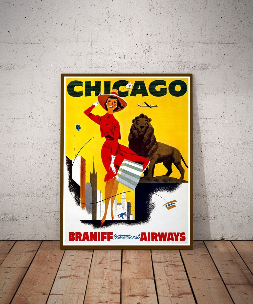Chicago Travel Vintage Poster Wall Art USA Travel Print 1950s by ...