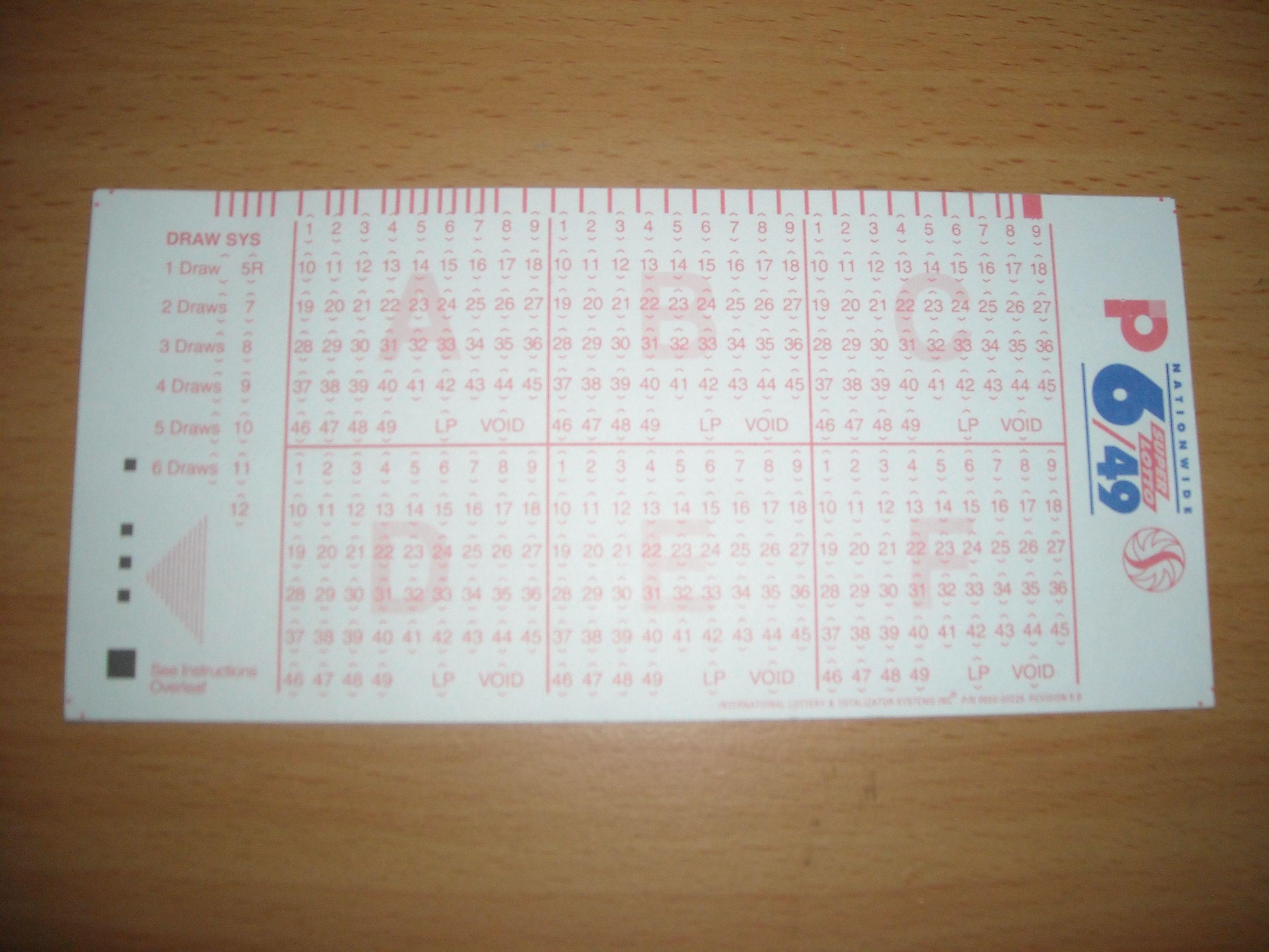 lotto card
