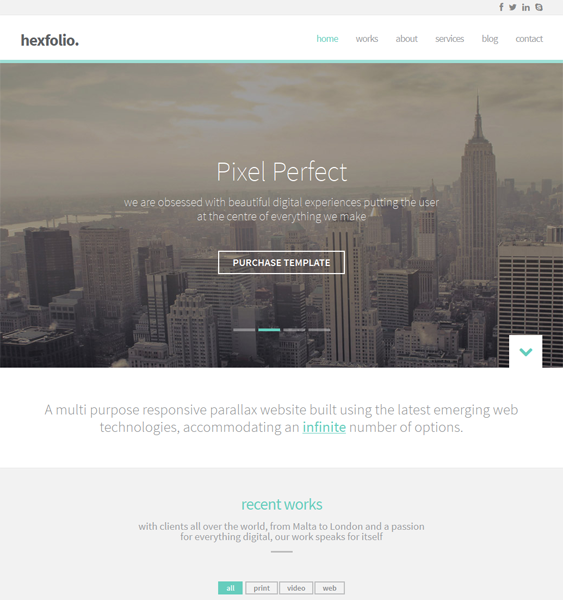 This parallax WordPress theme offers a one page layout, a