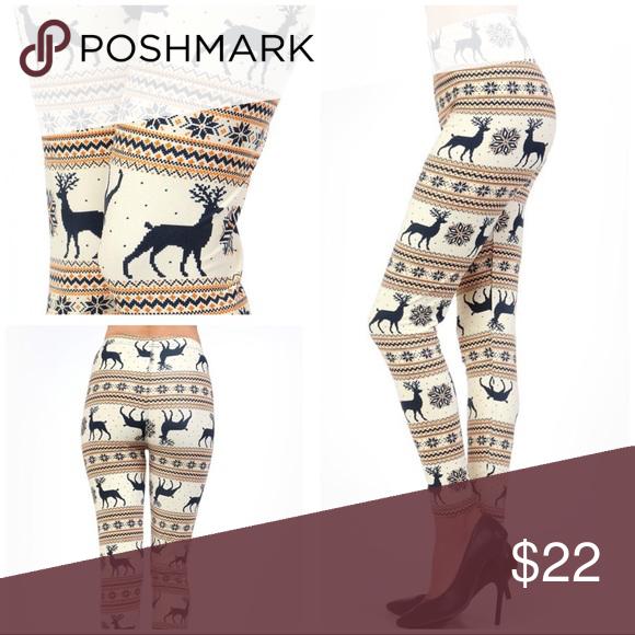 ☃️ChristmasFair Isle Reindeer Print Legging-PLUS☃ Plus Size ...