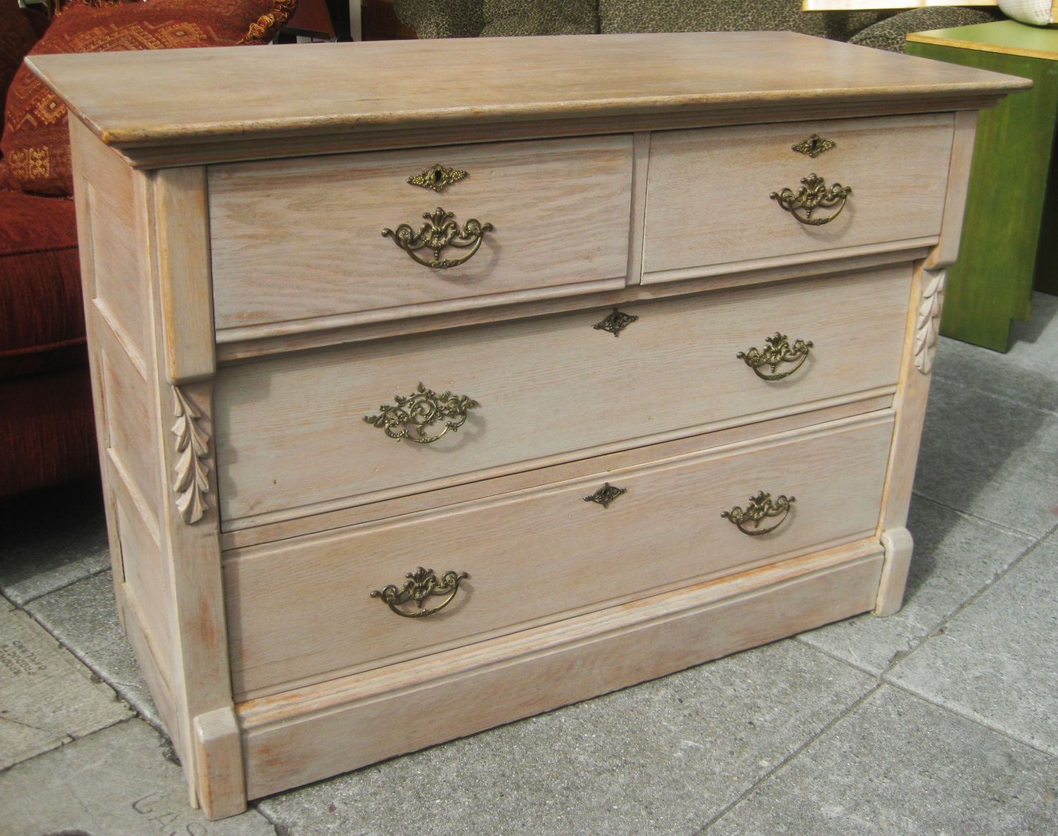 Uhuru Furniture Collectibles Sold White Washed Oak Dresser 90