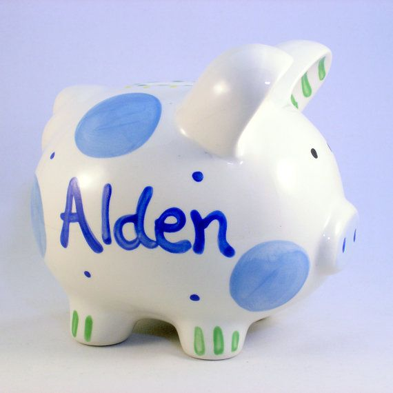 Personalized Piggy Bank Boy Piggy Banks Personalized Ceramic Piggy Bank Blue Polkadot Baby Boy New Baby Gi Baby Boy Gifts New Baby Products Piggy Bank