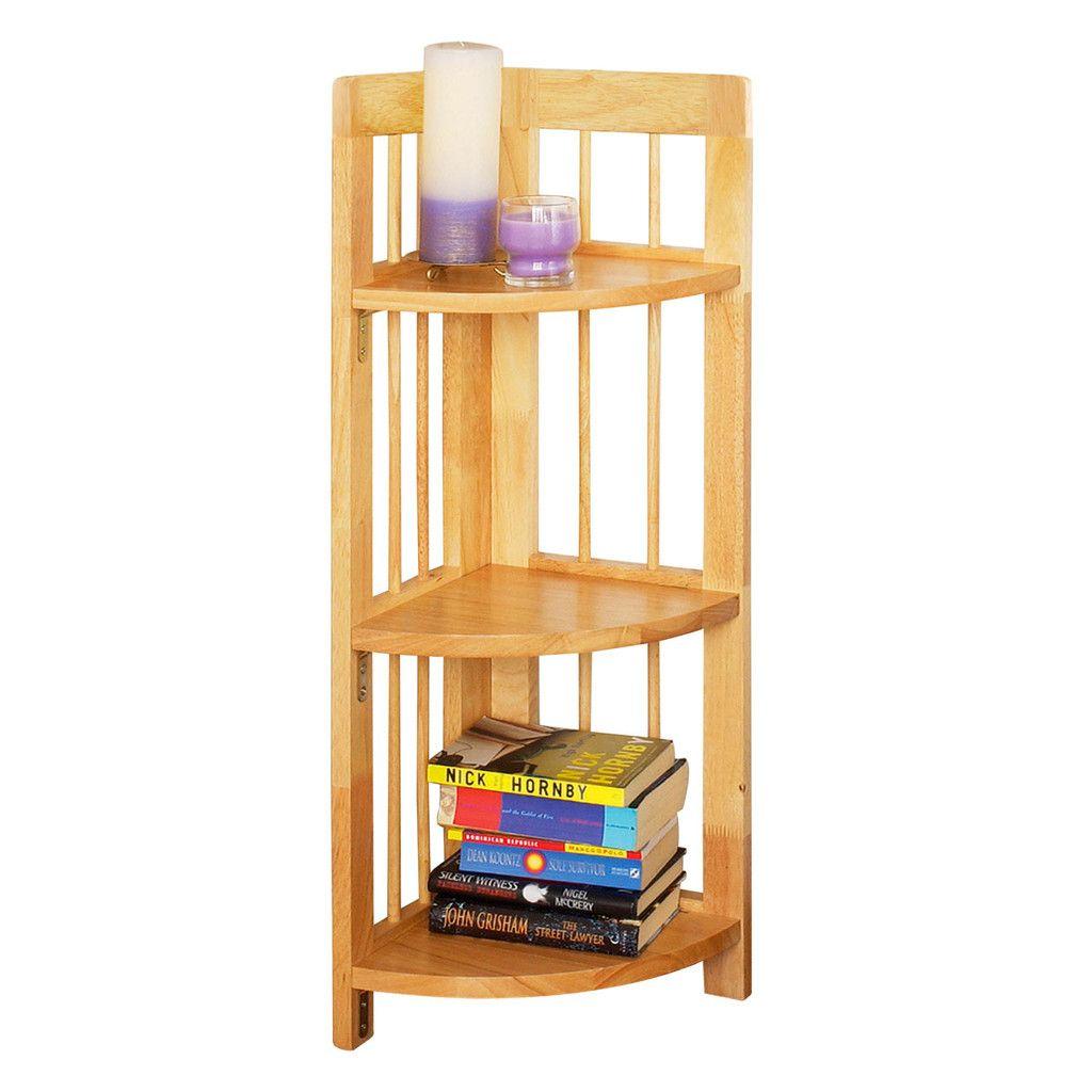 Corner Unit 3 Tier Tropical Hevea Wood Folding Wooden Corner Shelf Corner Shelf Unit Corner Shelving Unit