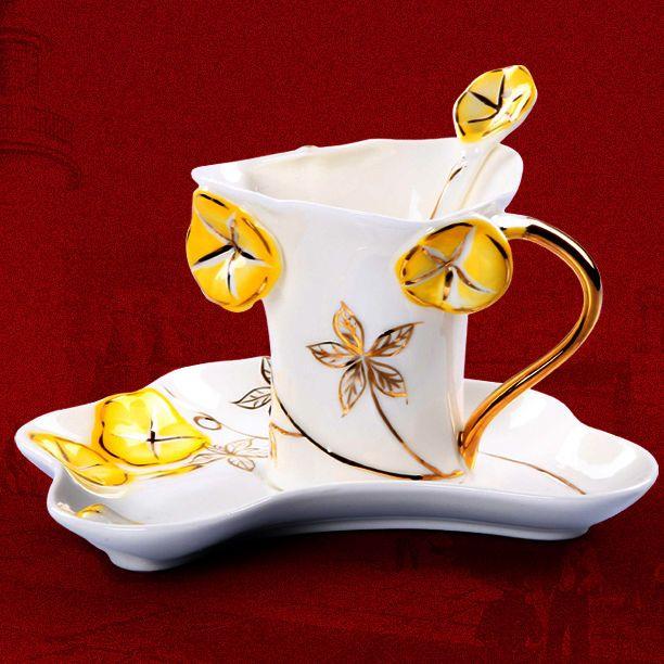 Fine Art Porcelain Ceramic Morning Glory Flower Coffee Tea Set With Sauce Spoon