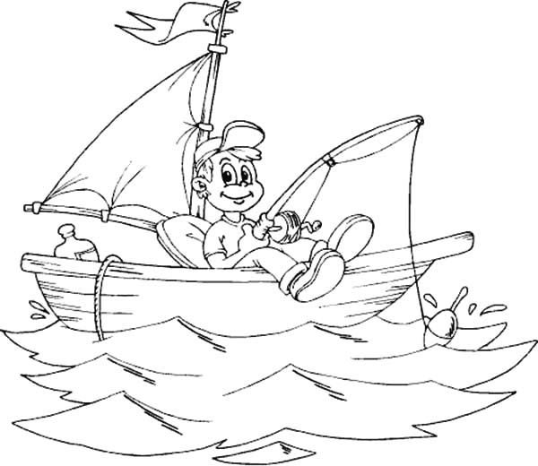 Fishing Boat Smiling Boy Fishing From Boat Coloring Pages