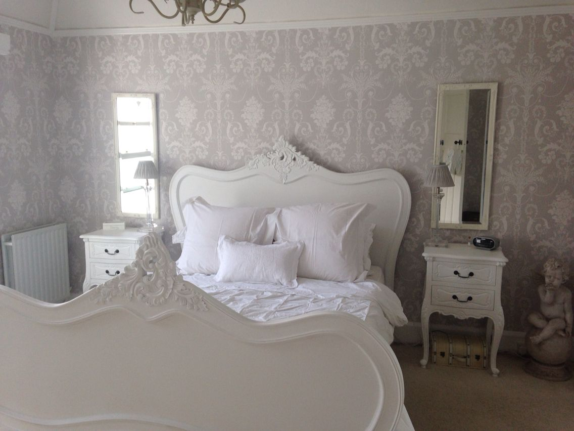 Calm grey and white bedroom with laura ashley josette wall for Grey wallpaper bedroom