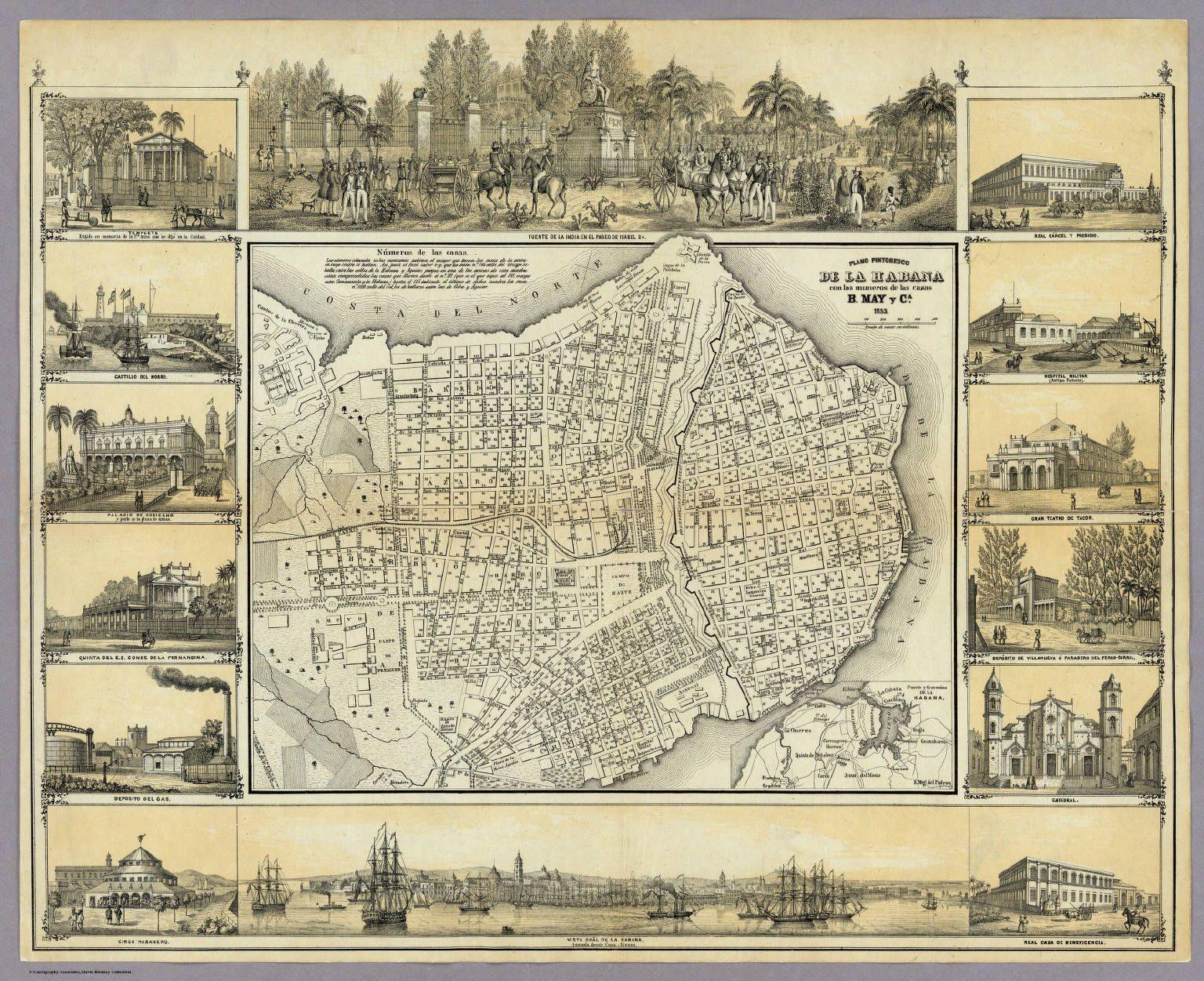 Plano La Habana 1853 pintoresco Cuba Pinterest Havana