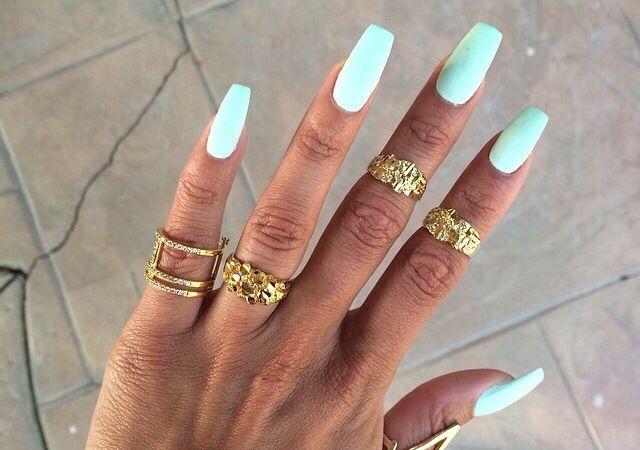 Mint Colored Tapered Square Tip Nails Manicura De Unas Manicura Unas De Gel