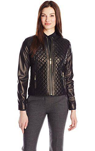 Cole Haan Women's Quilted Leather Jacket, Black, Small ❤ Cole ... : cole haan leather jacket diamond quilted - Adamdwight.com