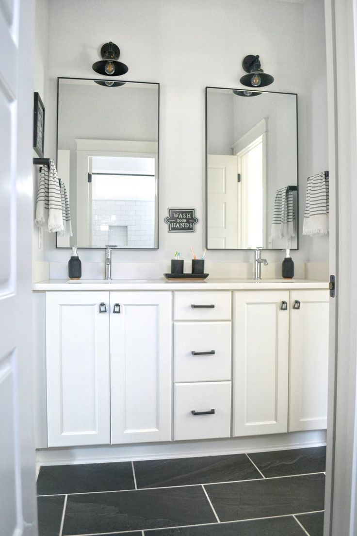 A Black and White Kids Bathroom
