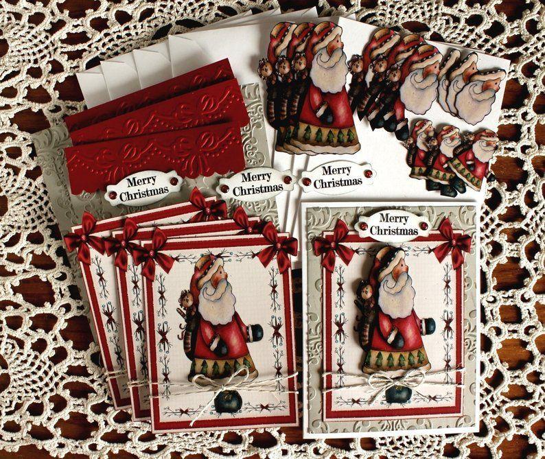 diy card kitprimitive santa card kit christmas santa