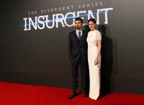 Photo Gallery: @shailenewoodley, Theo James and @VeronicaRoth at the 'Insurgent' premiere. #INSURGENTWorldPremiere