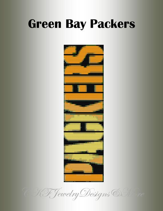 Green Bay Packers Beaded Loom Cuff Bracelet Team Pattern
