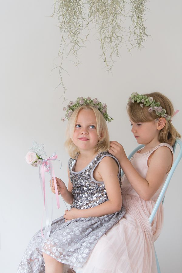 Flower Girls with Floral Crowns and Wands