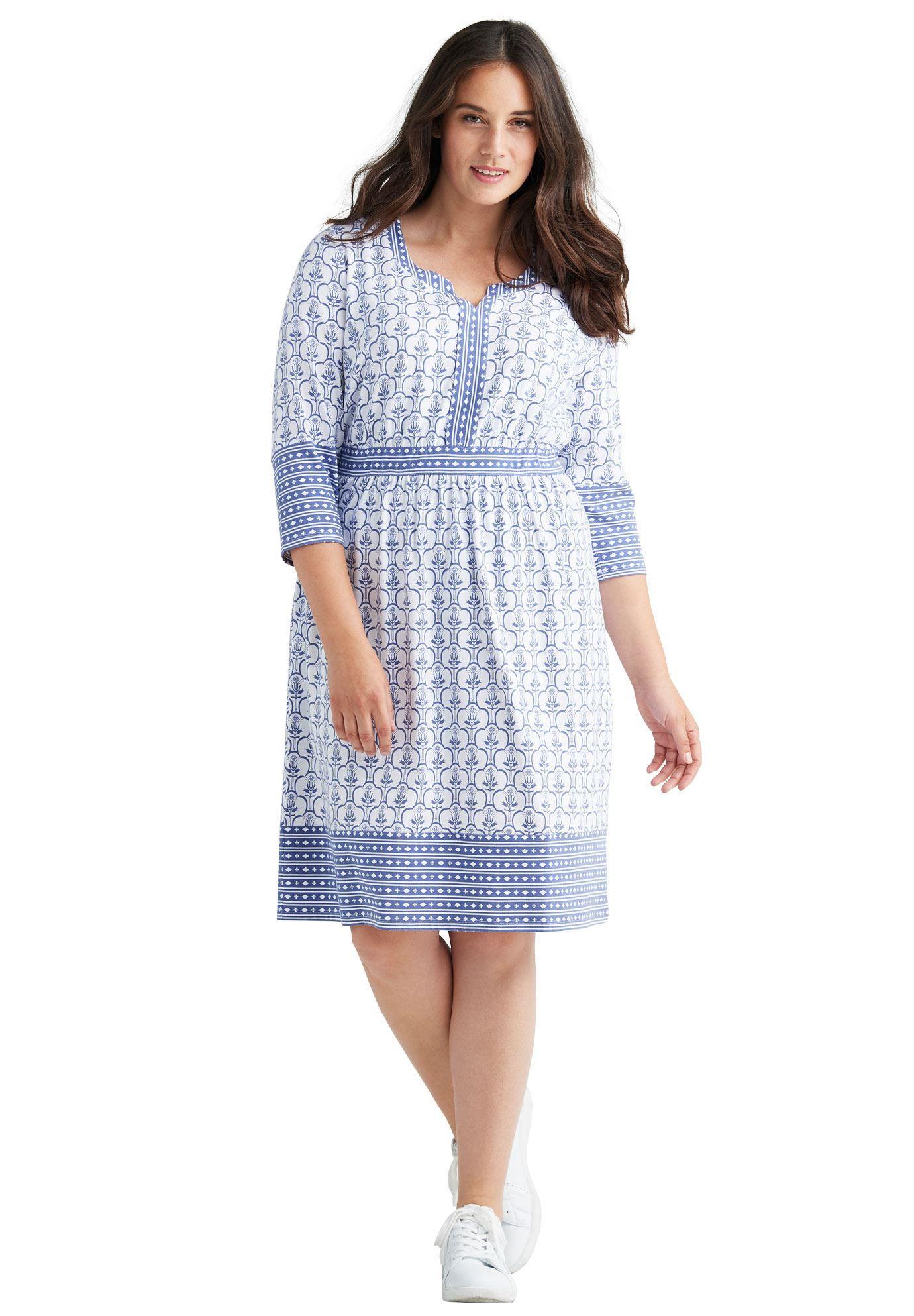 1b6445882ce7c Mixed Print Empire Waist Dress by Ellos reg  - Women s Plus Size Clothing
