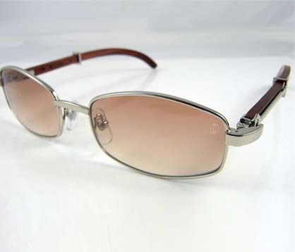 2fc8c2c6e2 Cartier Wooden Sunglasses 2902518 In Silver with Brown lens ...