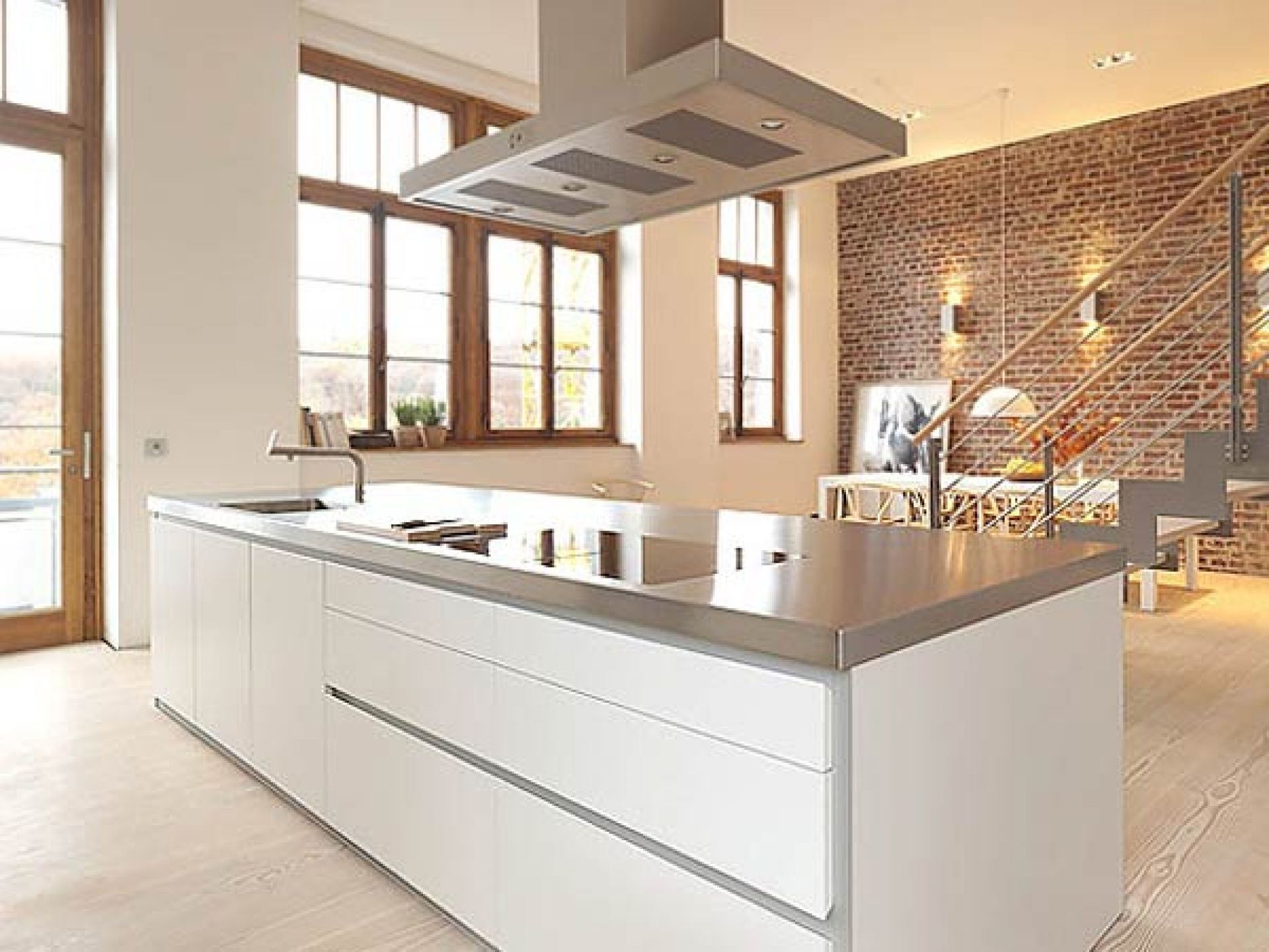 The overhead sink on the countertop is the highlight of the modern interior