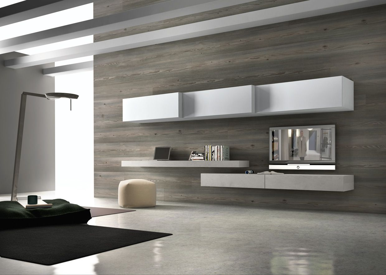 PRESOTTO | Base unit and wall-hung bench in grigio polvere ...