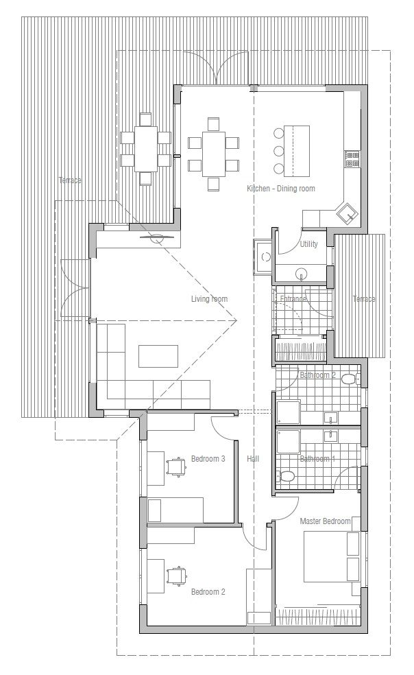 Small House Plan CH128 with nice interior and vaulted ceiling, small ...