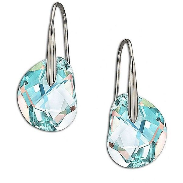 Swarovski Galet Pierced Earrings 79 Liked On Polyvore Featuring Jewelry Silver Crystal Jewellery Earring Blue
