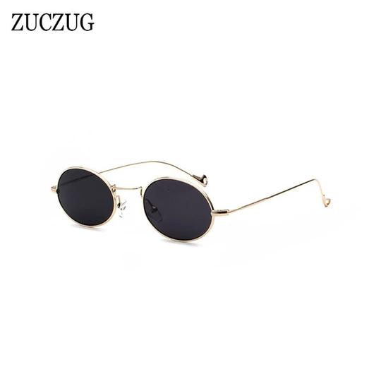 ZUCZUG Retro Oval Sunglasses Women Brand Design Round Small Size Sun Glasses Ladies Gold Frame Red Pink Blue Lens Glasses UV400