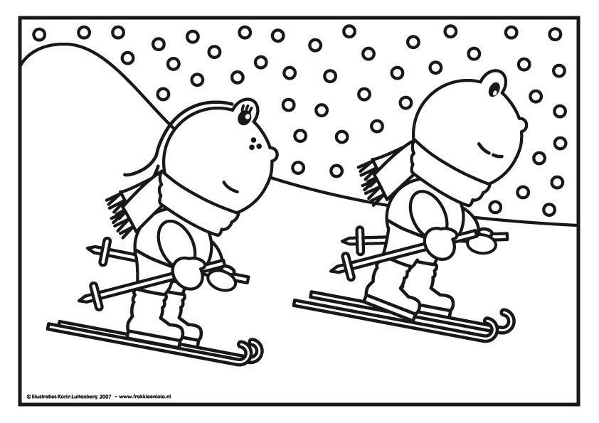 Kleurplaat Frokkie Lola Op De Ski Winter Pinterest