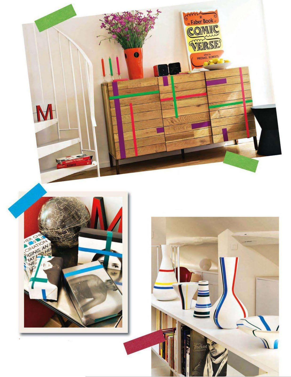 Du peps & de la géométrie dans la déco d'intérieur avec les masking tape de couleurs vives !