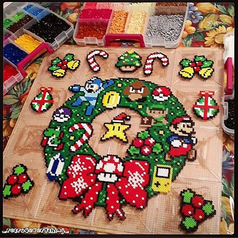 Nintendo Christmas.Nintendo Christmas Wreath And Ornaments Perler Beads By