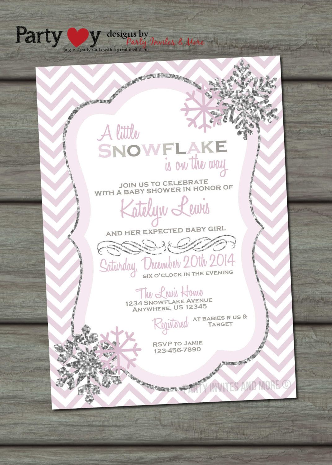 Snowflake Baby Shower Invitation, Winter Baby Shower Invitation ...