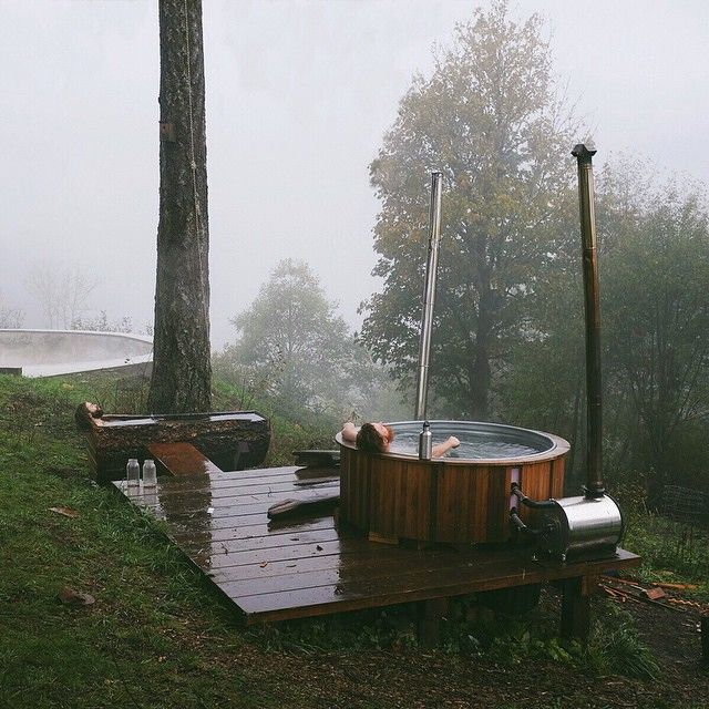 we built this wood burning hot tub out of a 390 gallon stock tank and two chofu stoves it takes. Black Bedroom Furniture Sets. Home Design Ideas