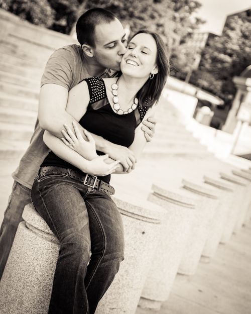 Guy Kissing Girl In Front Of Steps To Capital Warm Toned Black And White Tavia Larson Photography Harrisburg P Photography Photography Work Couple Photos