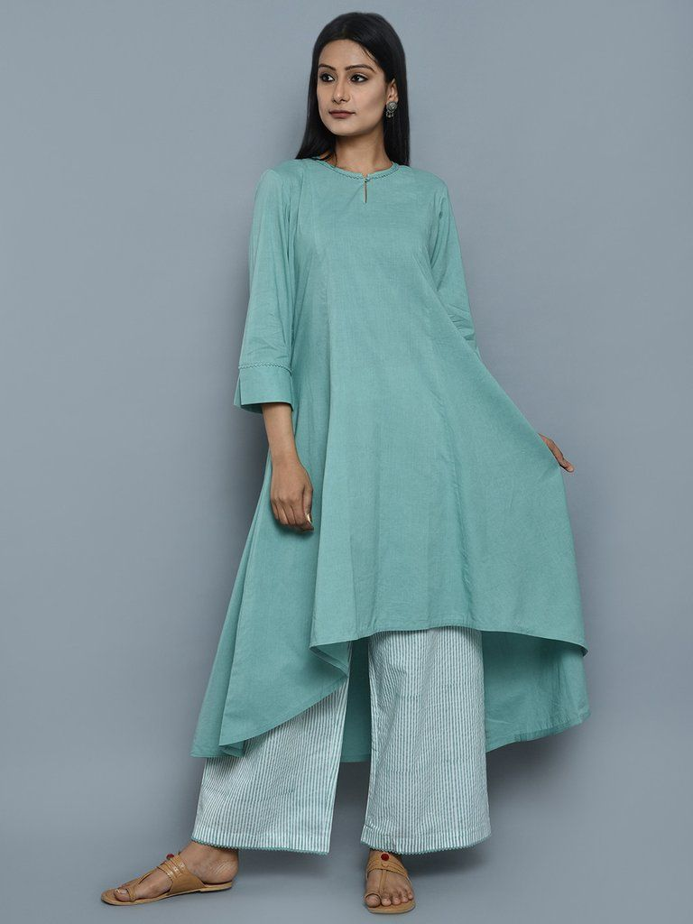 b1932df3df Sea Green Cotton High Low Kurta with Block Printed Palazzo - Set of ...