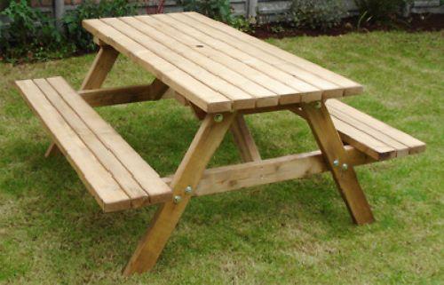 Heavy Duty Wooden Britannia 6 Seater Picnic Table Bench Outdoor