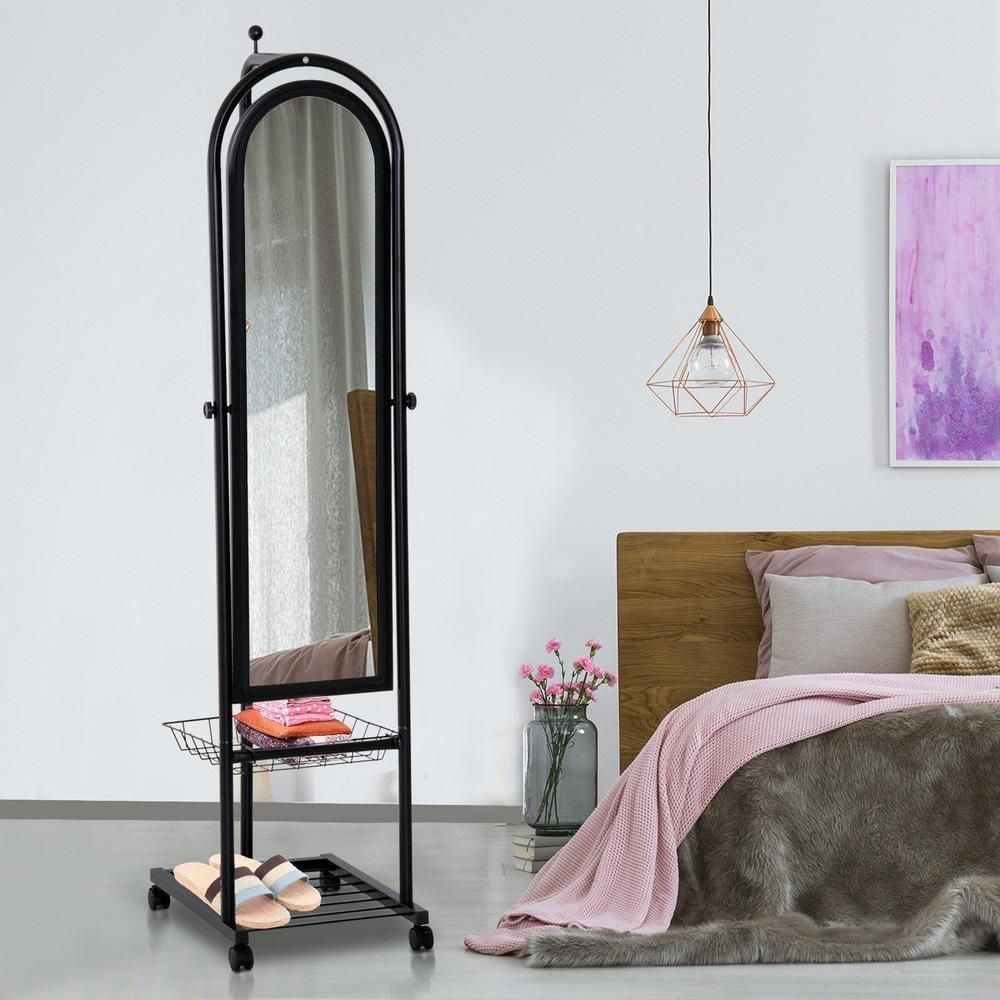 Black Steel Frame Full Length Mirror With Basket & Shelf