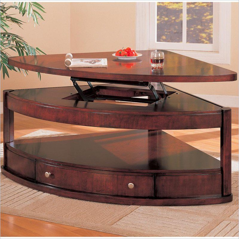 Coaster Evans Contemporary Pie Shaped Lift Top Cocktail Table With