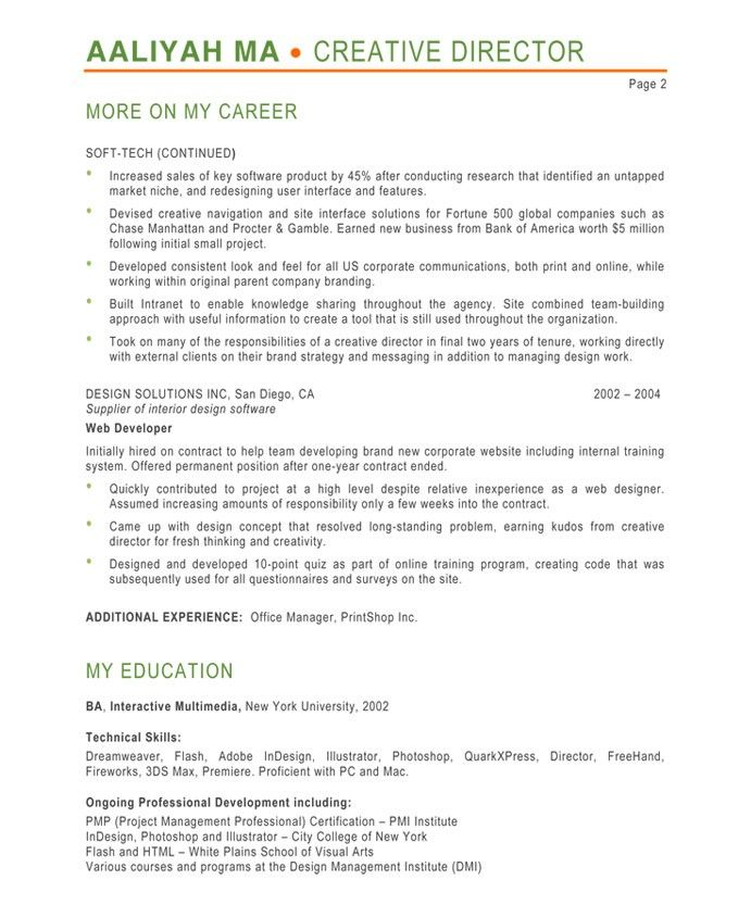 Creative Director-Page2 Designer Resume Samples Pinterest - senior web developer resume