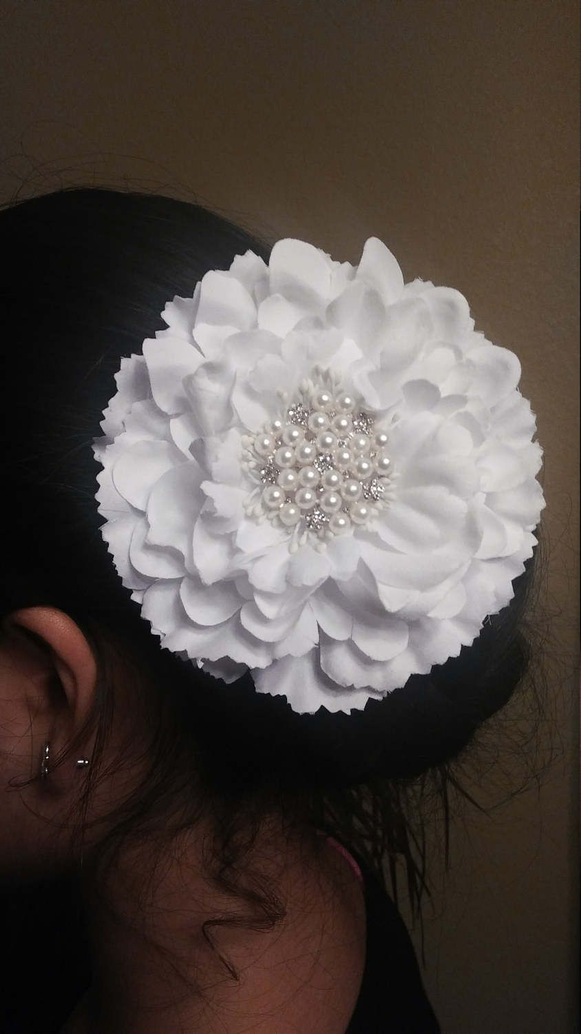 White flower hair clip wedding hair accessory first communion hair white flower hair clip wedding hair accessory first communion hair clip prom hair mightylinksfo